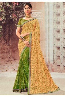 Green,Orange Color Traditional Sari.