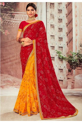 Maroon,Yellow Color Chiffon Sari.