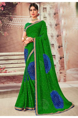 Green Color Indian Saree.