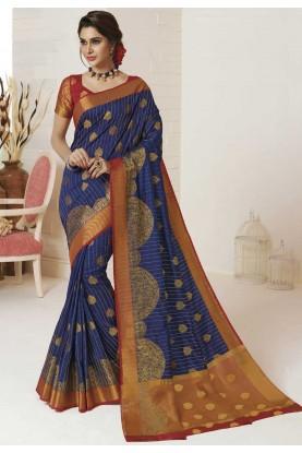 Blue Colour Printed Silk Saree.