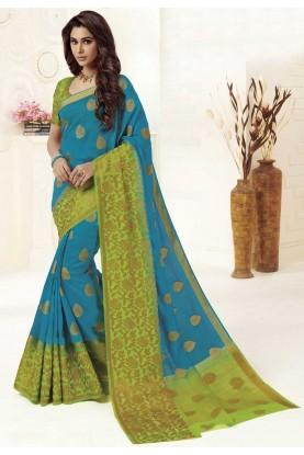 Blue Colour Weaving Saree.