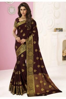 Party Wear Saree Brown Colour.