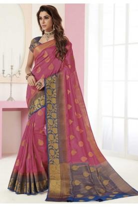 Pink Colour Indian Designer Saree.