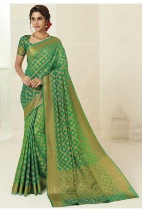 Green Colour Indian Traditional Sari.