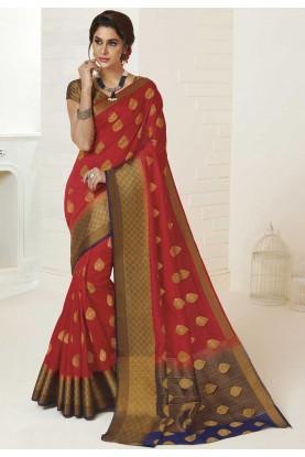 Red Colour Designer Silk Saree.