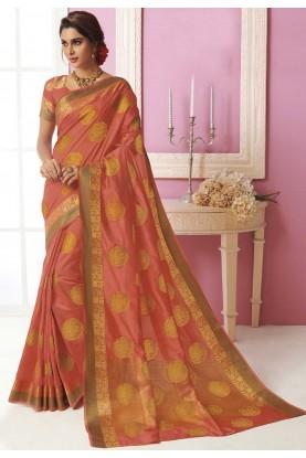 Peach Colour Designer Sari.