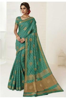 Green Colour Casual Saree.