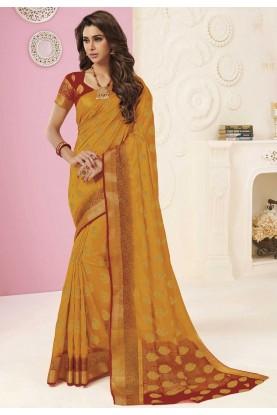 Silk Traditional Saree Orange Colour.
