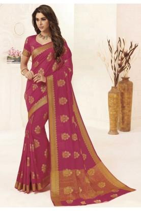 Pink Colour Weaving Saree.