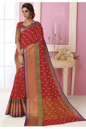 Red Colour Wedding Sari.