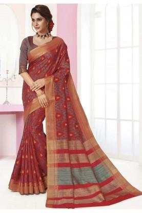 Multi Colour Printed Silk Saree.
