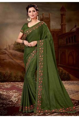 Indian Designer Saree Green Colour.