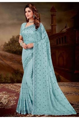 Turquoise Colour Chiffon Sari.