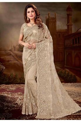 Grey Colour Party Wear Sari.