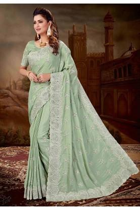 Green Colour Chiffon,Silk Saree.