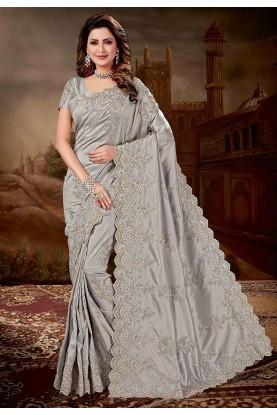 Silver Colour Silk Saree.