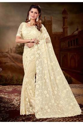 Indian Wedding Saree Cream Colour.