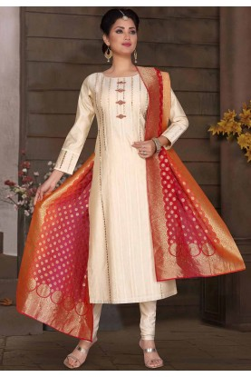 Designer Salwar Suit Off White Colour.