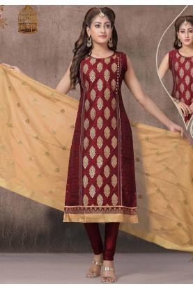 Maroon Colour Chanderi Silk Salwar Suit.