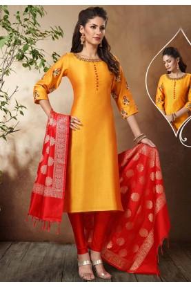 Yellow Colour Banarasi Salwar Suit.