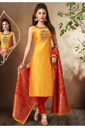 Yellow Colour Indian Designer Salwar Suit.