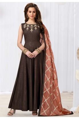 Brown Colour Anarkali Designer Salwar Suit.