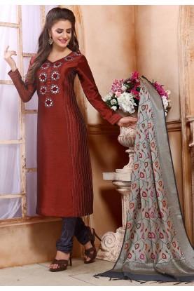 Maroon Colour Party Wear Salwar Suit.