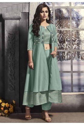 Sea Green Colour Satin Fabric Women's Salwar Suit