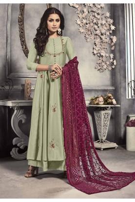 Pista Colour Indian Designer Salwar Suit.