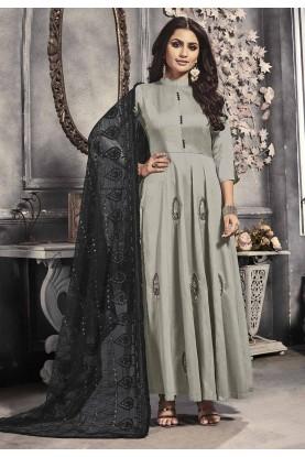 Grey Colour Satin Salwar Kameez.