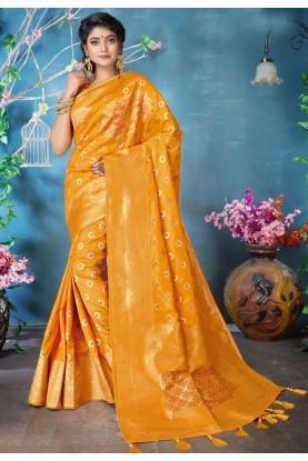 Yellow Colour Traditional Saree.