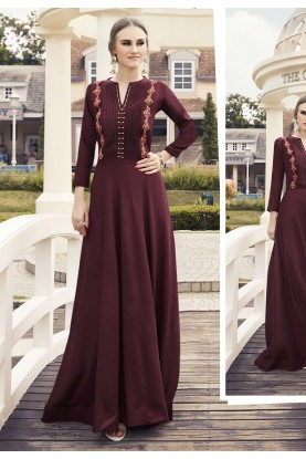 Maroon Colour Party Wear Kurti.