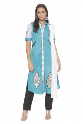 Cotton Salwar Suit Blue Colour.
