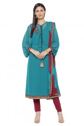 Turquoise Colour Georgette Salwar Kameez.