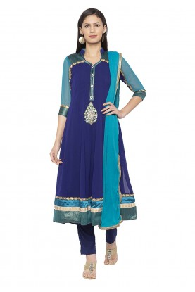 Blue Colour Embroidered Salwar Suit.