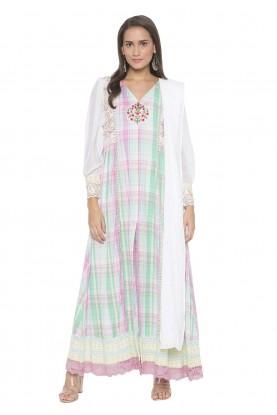 Multi Colour Cotton Readymade Salwar Suit.