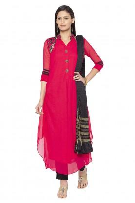 Georgette Salwar Kameez Red Colour.
