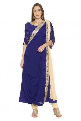 Blue Colour Party Wear Salwar Suit.