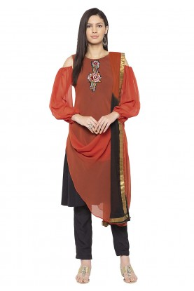 Rust Colour Readymade Salwar Suit.