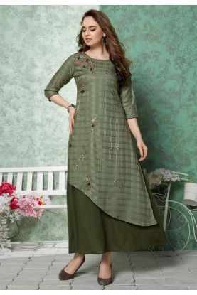 Green Colour Designer Readymade Kurti.