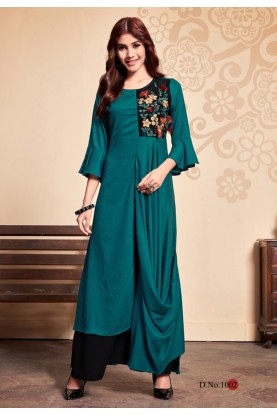 Green Colour Indian Designer Kurti.