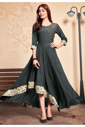 Grey Colour Anarkali Kurti.