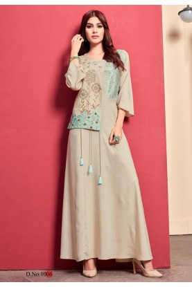 Beige Colour Embroidery Kurti.