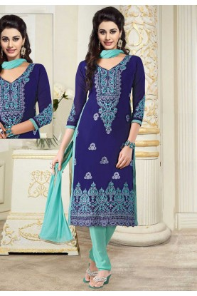 Blue Colour Georgette Casual Salwar Suit.