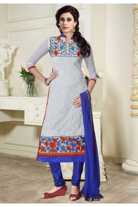 Off White Colour Casual Salwar Kameez.