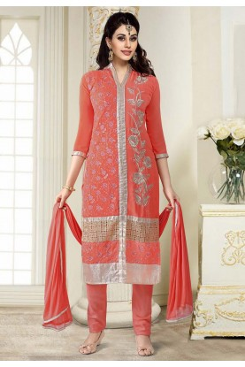 Rust Colour Georgette Salwar Suit.