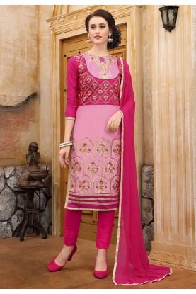 Pink Colour Cotton Salwar Suit.