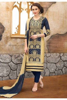 Beige,Blue Colour Casual Salwar Suit.
