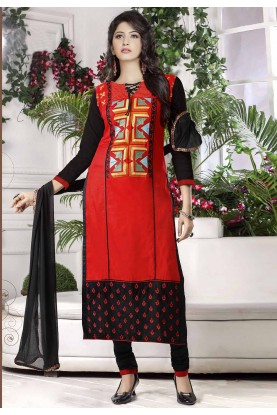 Red Colour Casual Salwar Suit.