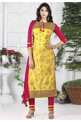 Yellow Colour Cotton Designer Salwar Suit.